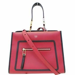 FENDI Runway Leather Tote Shoulder Bag Red